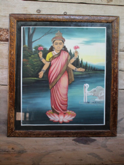 Vintage Painting of Laxshmi, Goddess of Wealth circa 1950